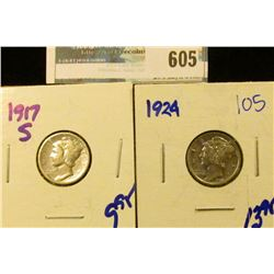 1917-S AND 1924 MERCURY DIMES