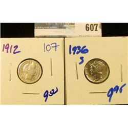 1936-S MERCURY DIME AND 1912 BARBER DIME