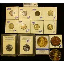 HODGEPODGE COIN LOT INCLUDES REPLICA GOLD ENHANCED 1933 ST GAUDENS DOUBLE EAGLE, SHIELD NICKEL, STAT