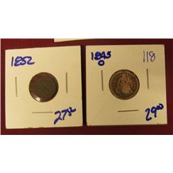 1852 SILVER THREE CENT PIECE AND 1845-O SEATED LIBERTY DIME