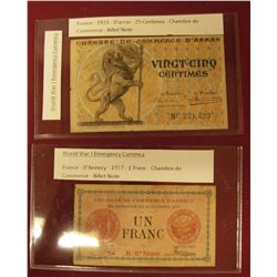 TWO FRENCH POST WORLD WAR 1 EMERGENCY NOTES.  THE FIRST NOTE IS A 1917 ONE FRANC NOTE PRINTED IN D'A