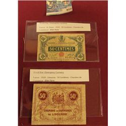 TWO WORLD WAR 1 FRENCH EMERGENCY CURRENCY NOTES