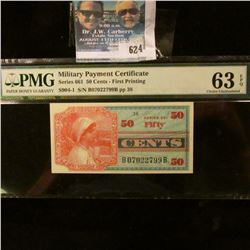 50 CENTS MILITARY PAYMENT CERTIFICATE GRADED MS 63 EXCEPTIONAL PAPER QUALITY BY PMG.  THE NOTE IS A