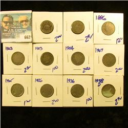 NICKEL LOT INCLUDES 2 SHIELD NICKELS, 4 V NICKELS INCLUDING THE 1896, 3 BUFFALO NICKELS, AND 1938-D