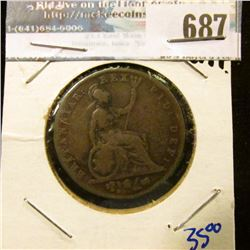 1827 BRITISH HALF CENT- KM NUMBER 692 - KING GEORGE THE FOURTH ON THE FRONT