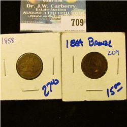 1858 FLYING EAGLE CENT AND 1864 BRONZE CIVIL WAR ERA INDIAN HEAD CENT