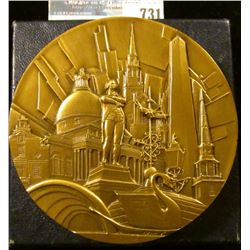 THREE INCH BRONZE MEDAL CELEBRATING BOSTON'S JUBILEE.  ON THE MEDAL IS THE CITYSCAPE WITH A JET TAKI