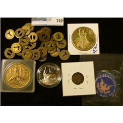 SMALL BAG OF LOUISVILLE TRANSIT TOKENS, APOTHECARY WEIGHT, STATUTE OF LIBERTY PROOF HALF DOLLAR, NAT