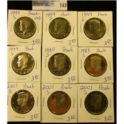 9 PROOF KENNEDY HALF DOLLARS