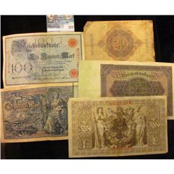 OVERSIZED GERMAN BANK NOTES LOT… THIS LOT INCLUDES 1910 100 MARK NOTE, 1910 20 MARK NOTE, 1908 100 M