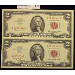 TWO CRISP AND CONSECUTIVE TWO DOLLAR RED SEAL NOTES SERIES 1963