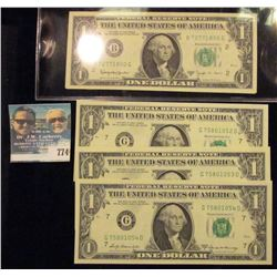 THREE CONSECUTIVE SERIES 1969-A ONE DOLLAR NOTES AND 2 CONSECUTIVE SERIES 1963-B ONE DOLLAR NOTES