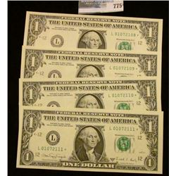 4 CONSECUTIVE SERIES 1988-A ONE DOLLAR STAR NOTES
