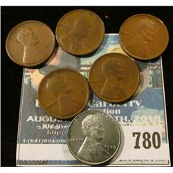 5 1909-VDB WHEAT CENTS AND 1943 WORLD WAR 2 STEEL CENT