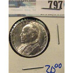 SILVER 1940 VATICAN 5 LIRE COIN