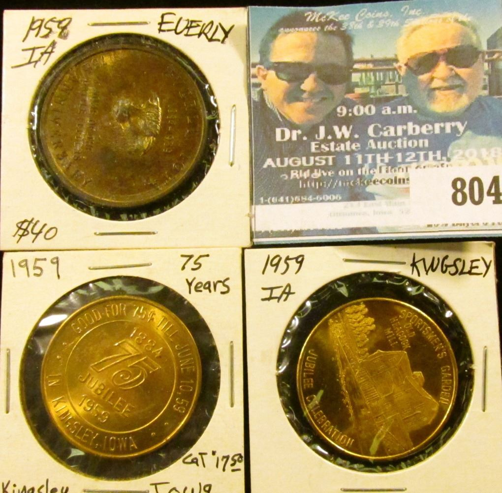 (3) Different Iowa Diamond Jubilee Medals, includes: 1958 Everly, & (2)  1959 Kingsley, Iowa