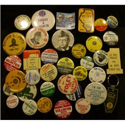 (35) Mostly Political Pin-backs & a Key chain.