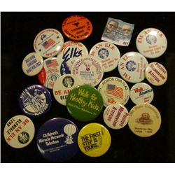 (20) Miscellaneous Pin-backs, many Elks Lodge related.
