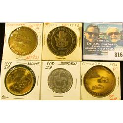 (5) Different Iowa Centennial Medals, includes: Hawarden, Keota, Hampden, Elliot, & Ganger, Iowa.