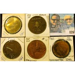 (5) Different Iowa Quasquicentennial Medals, includes: Quasqueton, Burlington, Palo, Keokuk, & Goldf