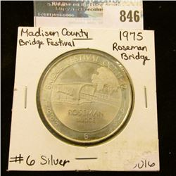 """1883 Bridge Festival Oct. 11-12, 1975"" No. 6 Sterling Silver. ""Roseman Bridge"" Madison County Cover"
