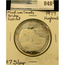 """1884 Bridge Festival Oct. 8-9, 1977"" No. 7 .999 fine Silver. ""Hogback"" Bridge,  Madison County Cove"