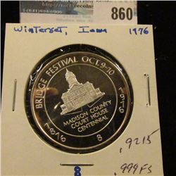 1876 Bridge Festival Oct. 9-10, 1976 #8 Proof .999 Fine Silver Medal from Wintersett, Iowa. 39mm. #