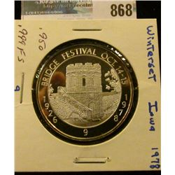 1926 Bridge Festival Oct. 14-15, 1978 #9 Proof #186.999 Fine Silver Medal from Wintersett, Iowa. 39m