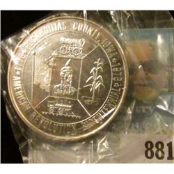 """1776 Pocahontas County, Iowa 1976/American Revolution Bicentennial"", Proof .999 Fine Silver, 39mm,"