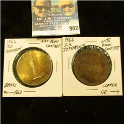 902 _ Pair of 1966 National Plowing Contest, Jefferson, Iowa Medallions. Minted in brass & copper.