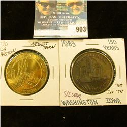 903 _  Sesquicentennial/18391989/Washington, Iowa  Medal, silver-colored, 39mm; & 1970 Johnston, Iow