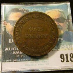 "918 _ ""Gate City Chapter No. 7 R.A.M. Keokuk, Iowa One Penny"" Masonic Token."