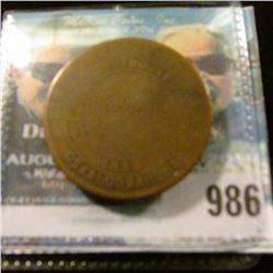 """986 _ 1855 Oskaloosa, Iowa Masonic Penny, reverse """"KSHTWSST"""", Fair/VG."""
