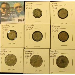 1074 _ (5) 1968 Canada Silver Dimes & (3) 1968 Canada Silver Quarters.