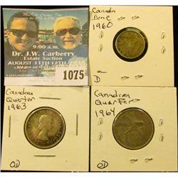 1075 _ 1963 & 1964 Canada Silver Quarters & 1960 Canada Silver Dime.
