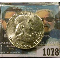 1078 _ 1955 P Franklin Half Dollar, MS 65. Nearly Full Bell Lines.