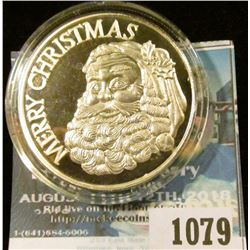 "1079 _ ""Merry Christmas"" Santa Claus design undated 1 ounce .999 Fine Silver Medallion, Gem BU, enca"