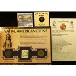 1080 _ Nixon Miniature Penny; Lincoln-Kennedy Penny, & Native American Coin and Stamp Set with 1902