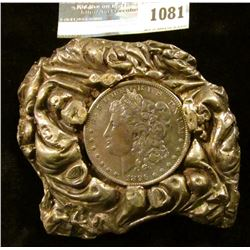 1081 _ Hand made Coin Silver Belt Buckle with 1896 P Morgan Silver Dollar, the buckle itself is made