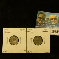 1085 _ 1904 .900 Fine Silver Panama 5 Centesimos de Balboa, EF; & 1953 Panama Silver Un decimo de Ba