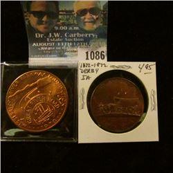"1086 _ 1970 ""Mississippi Parkway Foundation/Great River Road"" Medal, BU, Copper, 39mm; & 1872-1972 D"