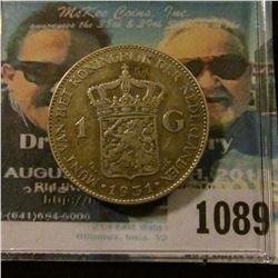 1089 _ 1931 Netherlands Silver Gulden, VF.