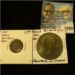 1090 _ 1905 Mexico Silver Ten Centavos, VF; & 1965 Great Britain Churchill Crown, Gem BU.
