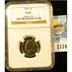 1114 _ 1953 P Jefferson Nickel, NGC slabbed PR67 NGC Price Guide $45