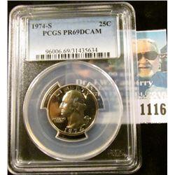 1116 _ 1974 S Washington Quarter PCGS slabbed PR69DCAM NGC Price Guide $15.