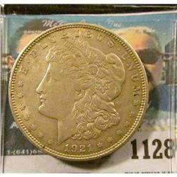1128 _ 1921 D U.S. Morgan Silver Dollar, VF-EF.