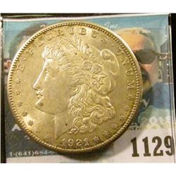 1129 _ 1921 S U.S. Morgan Silver Dollar, AU 55, Original toning.