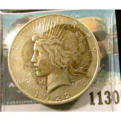 1130 _ 1922 D U.S. Peace Silver Dollar, VF, toning.