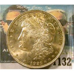 1132 _ 1921 P U.S. Morgan Silver Dollar, Gem BU with original toning.