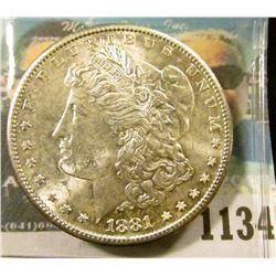 1134 _ 1881 S U.S. Morgan Silver Dollar, Gem BU with original cartwheel luster.